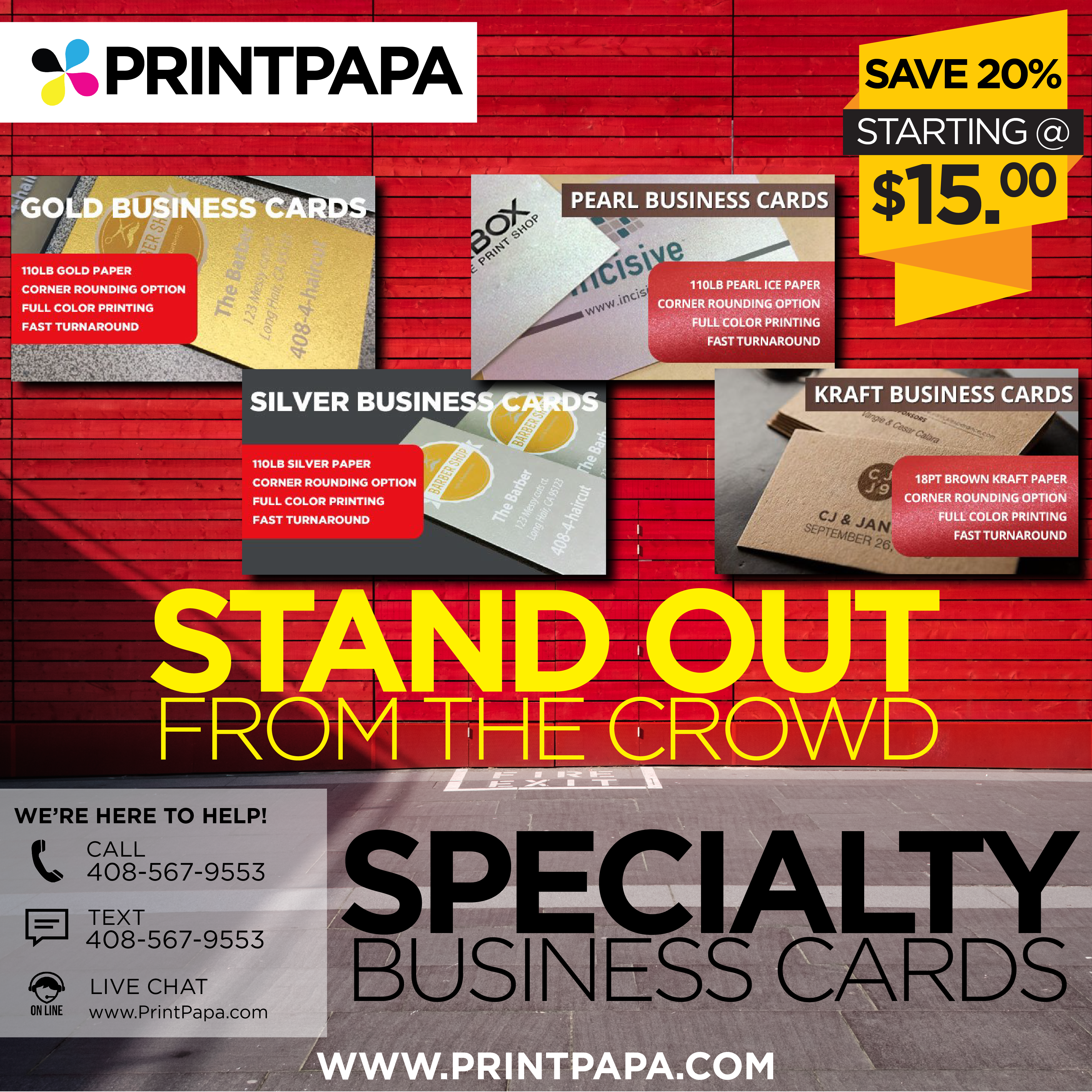 Stand out from the crowd get your business cards printed on shiny get your business cards printed on shiny gold silver or pearl metallic paper or get a naturalrustic feel with our kraft stock colourmoves