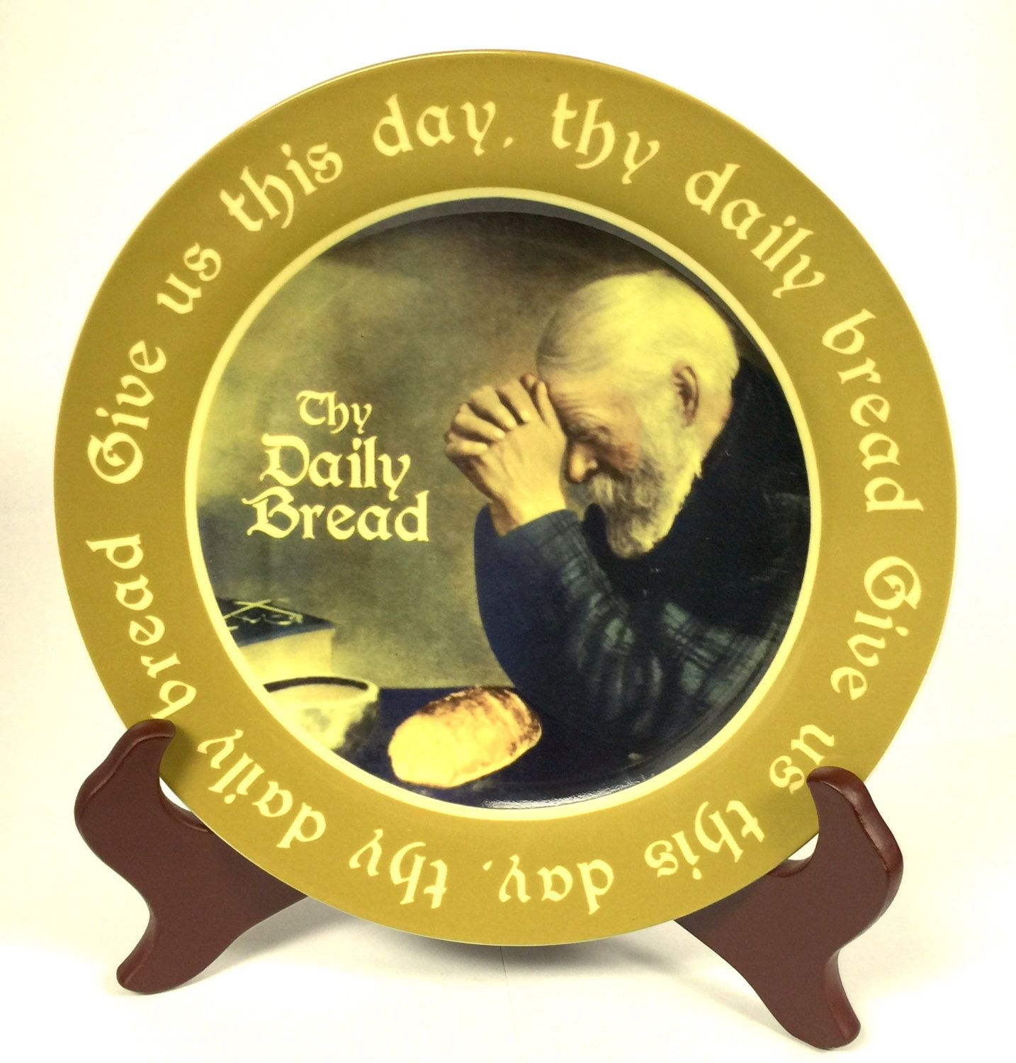 Give us this day our daily bread prayer collector plate