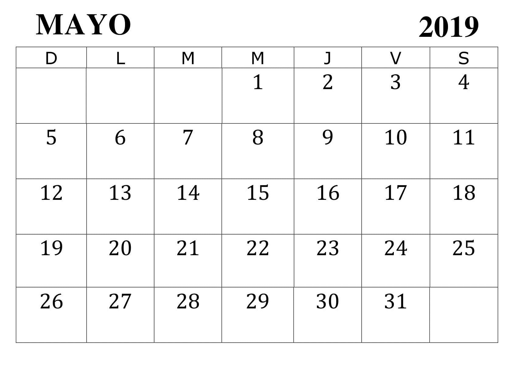 Calendario Grande.Mayo 2019 Calendario Pdf 200 May 2019 Printable Calendar