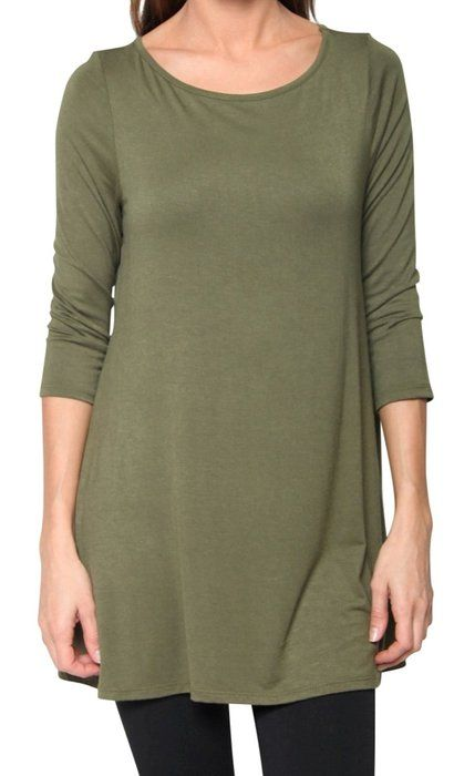 b8d6787b86e Free to Live Women's Flowy Elbow Sleeve Jersey Tunic Blouse Top Made in USA  (Small, Olive)