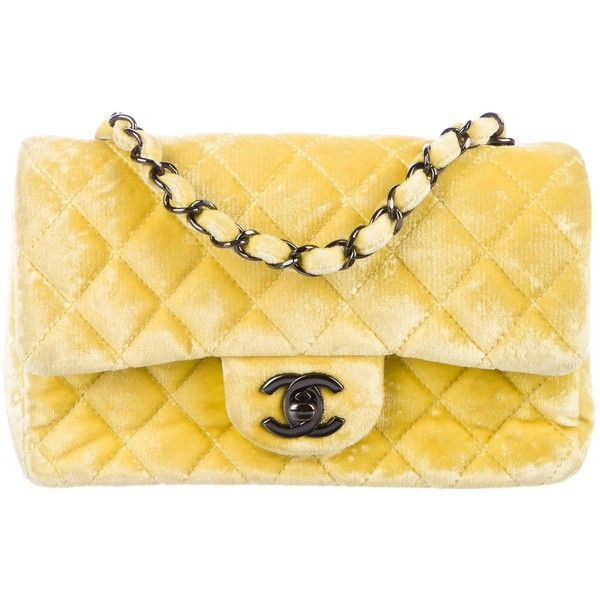 ef429a35802 Pre-owned Chanel Velvet Classic New Mini Flap Bag ( 1,895) ❤ liked on  Polyvore featuring bags, handbags, yellow, flap bag, chanel, quilted  handbags, ...