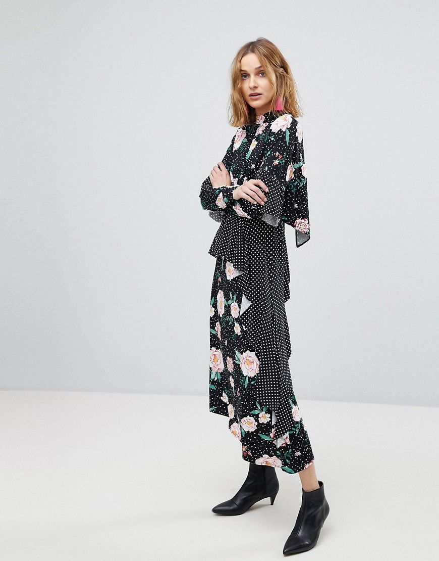 3eac665ab27e ASOS Mixed Print Deconstructed Tea Dress with Open Back - Multi