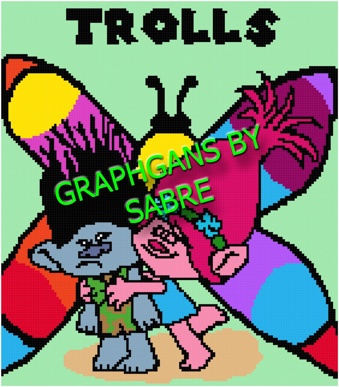 Trolls Crochet Afghan Graph Pattern | Pinterest