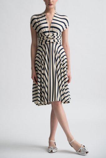 little french stripe (convertible) wrap dress | nadia tarr