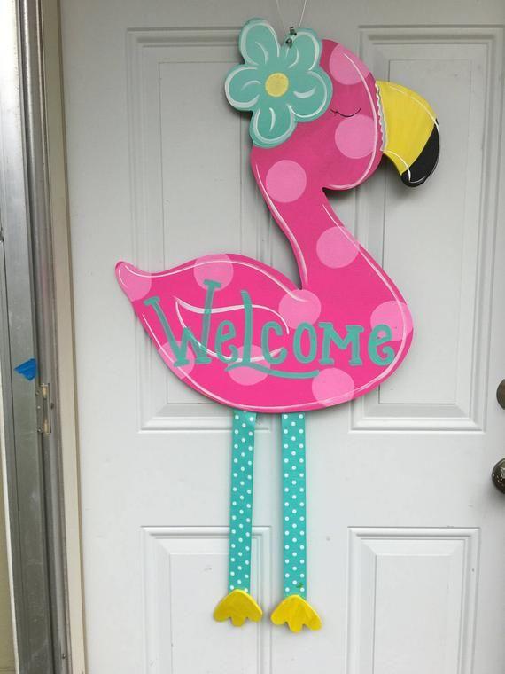 Summer Door Hanger Flamingo Door Hanger Spring Door Hanger