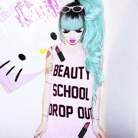 Nikki Lipstick Makeup pastel goth grunge punk beauty top shirt sleeveless tunic. BEAUTY SCHOOL DROPOUT