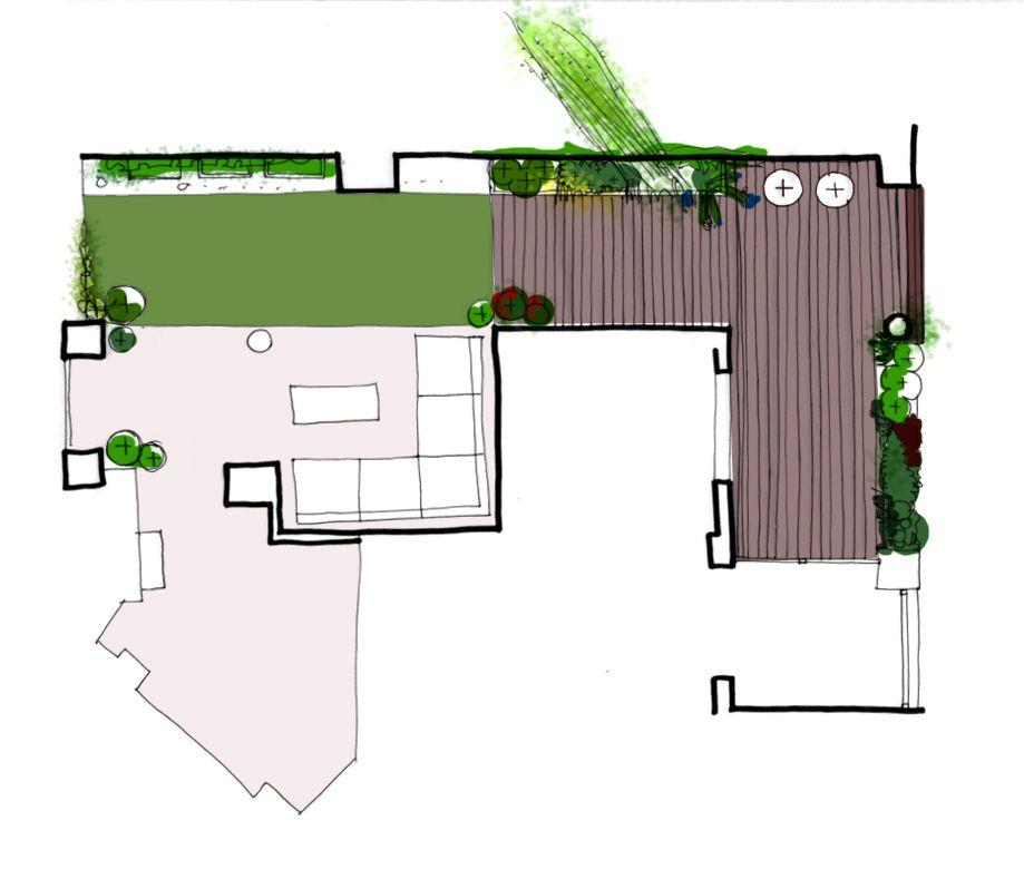 Jardin en terraza dise o de la habitaci n verde for Planos de jardines