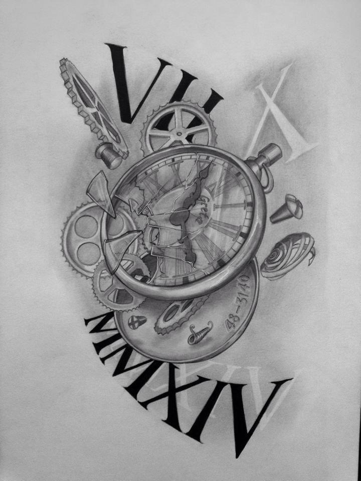 Clock time joni pinterest tatouages id es de tatouages et tatouages horloge - Tatouage horloge homme ...