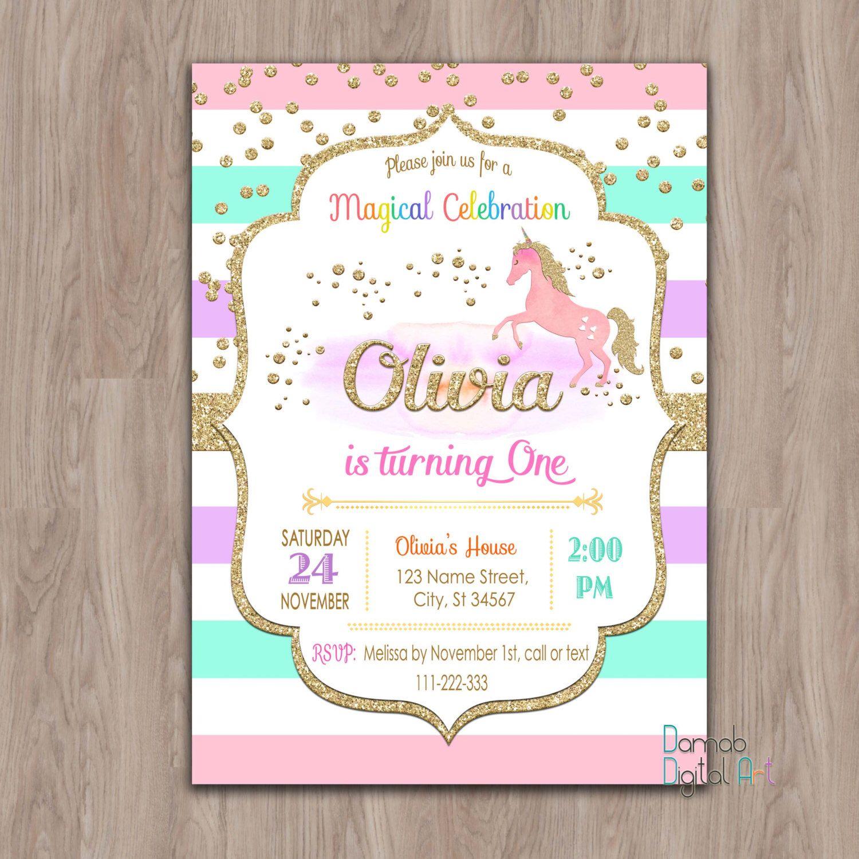 Unicorn Birthday Invitation Unicorn invitation unicorn invites