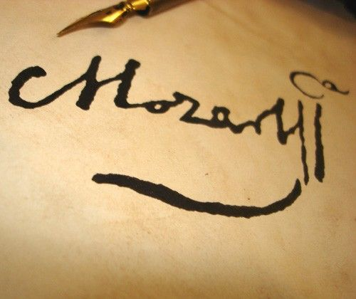Mozart Lettere: Hand Inked Signature Of Wolfgang Amadeus Mozart As He