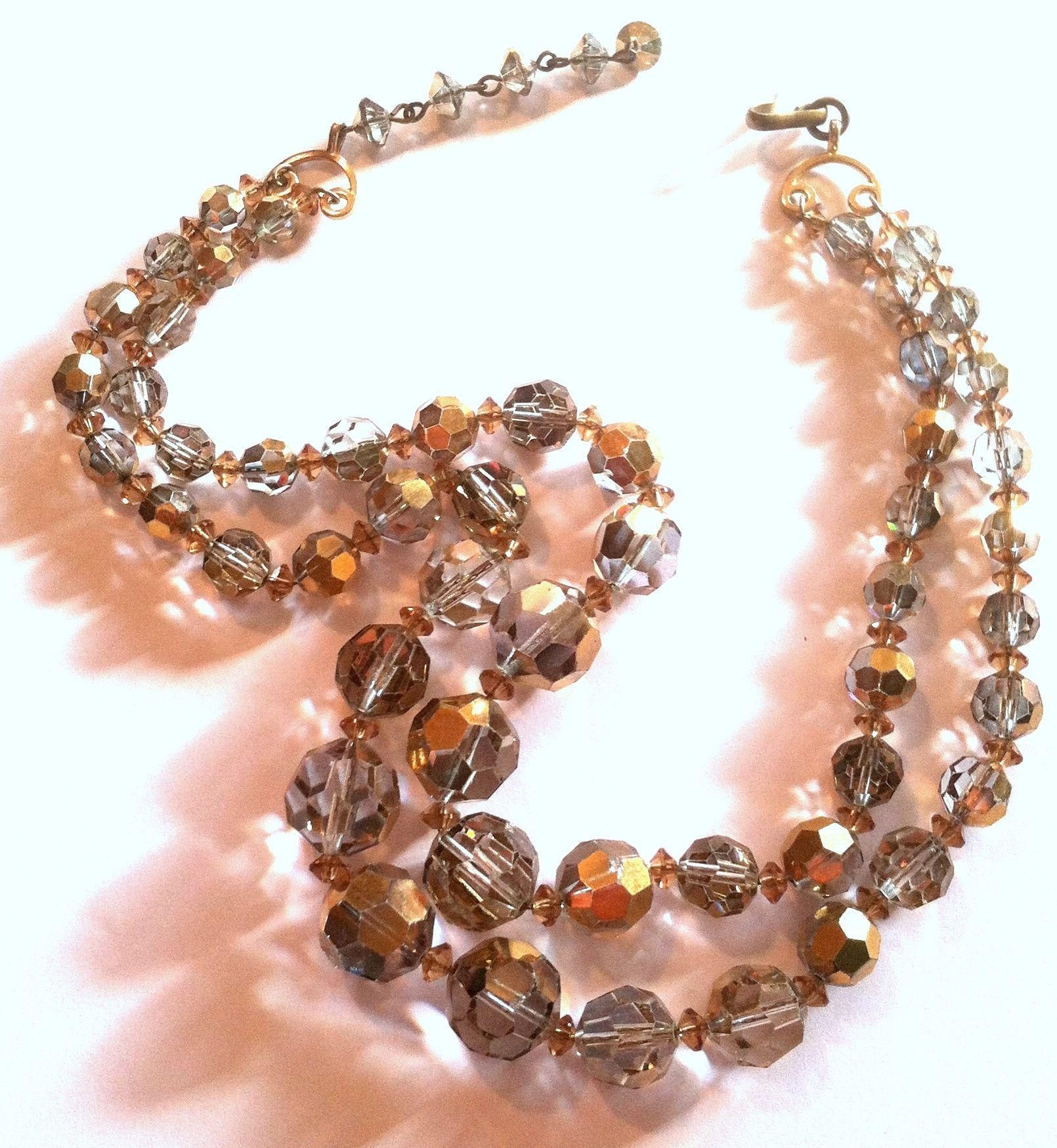 Shimmering Gold and Silver Aurora Borealis Crystal Necklace circa 1960s