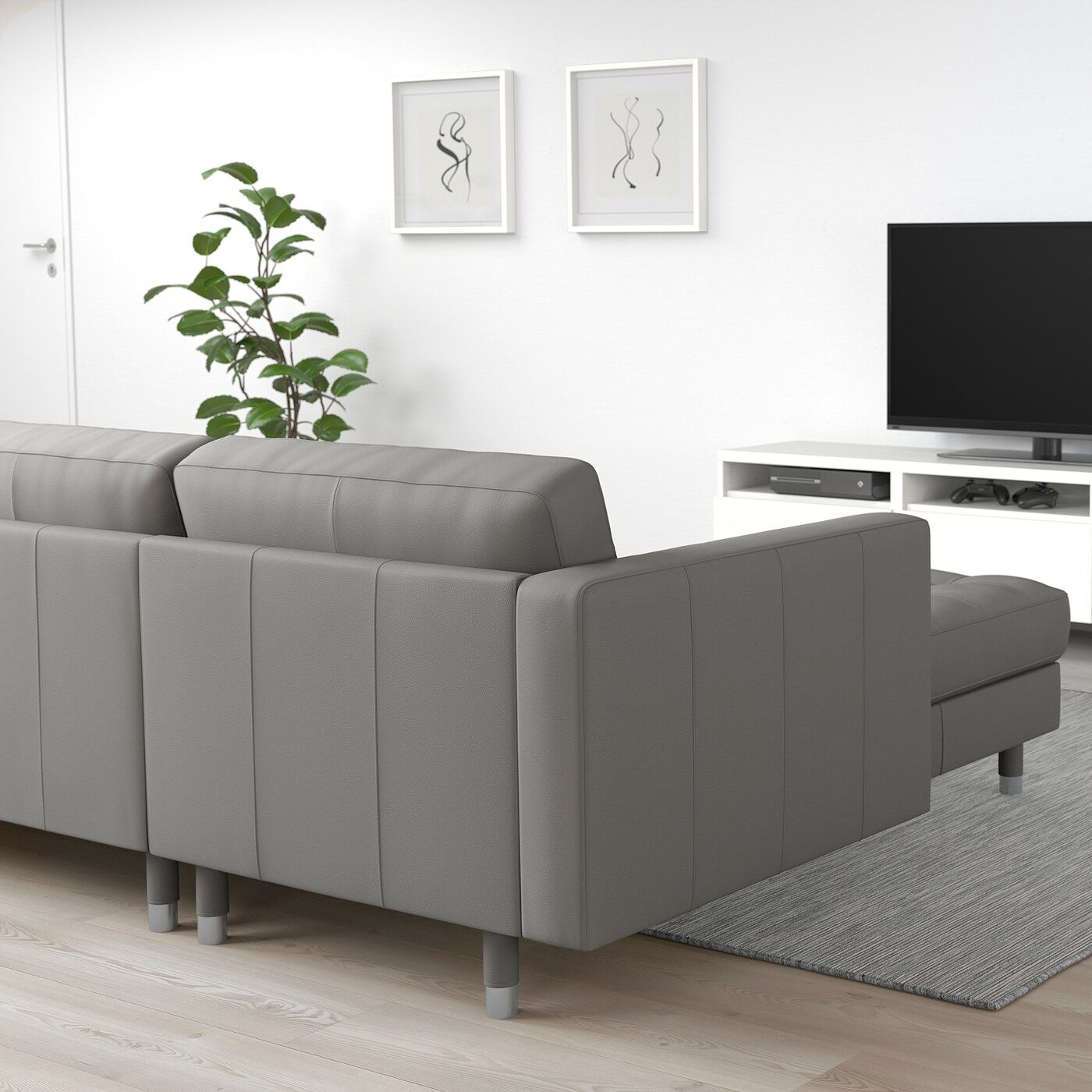 Landskrona 4er Sofa Mit Recamiere Grann Bomstad Graugrun Metall Wohnzimmer Braun Braune Wohnzimmermobel Und 3er Sofa