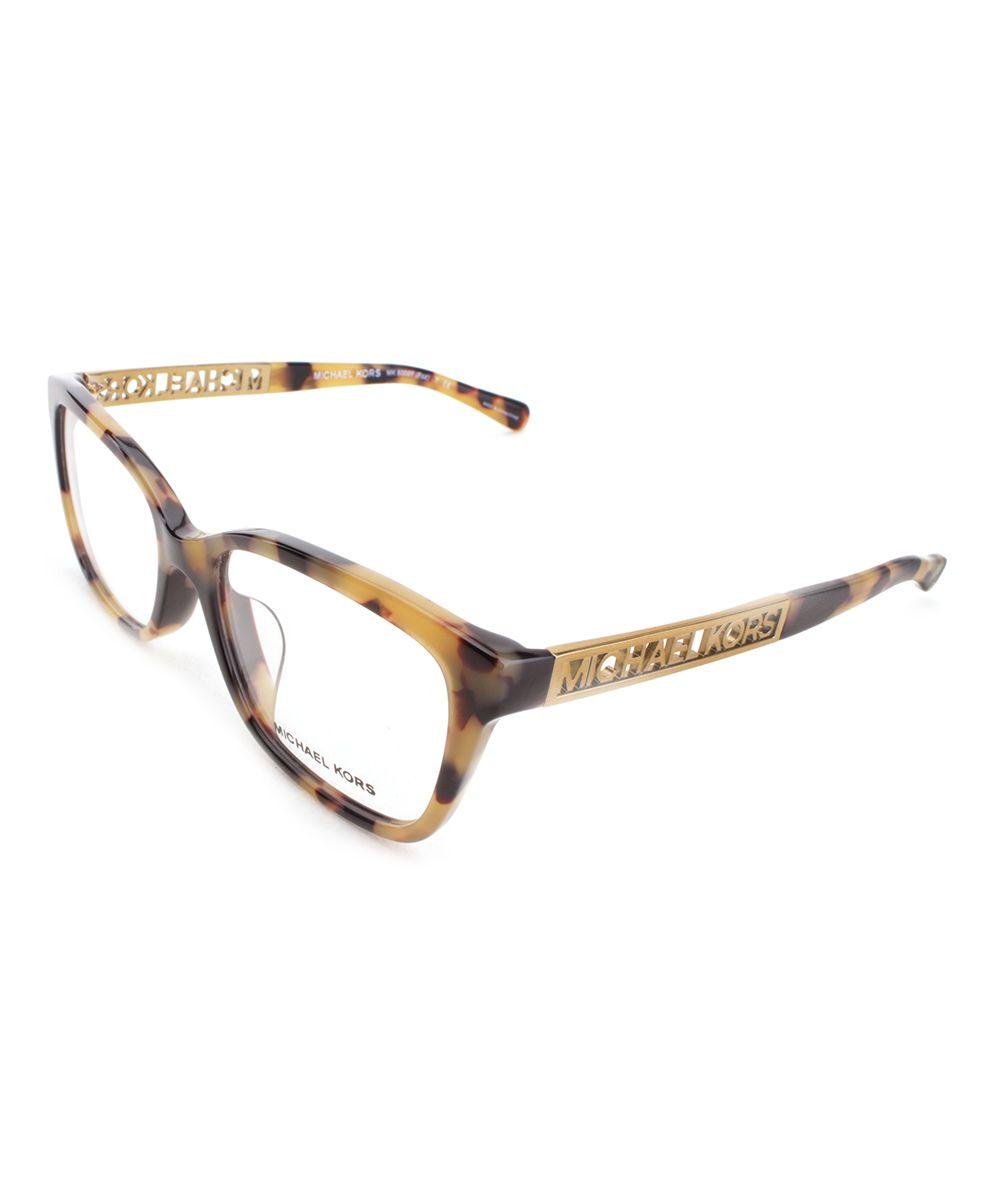 Goldtone & Brown Foz Eyeglasses