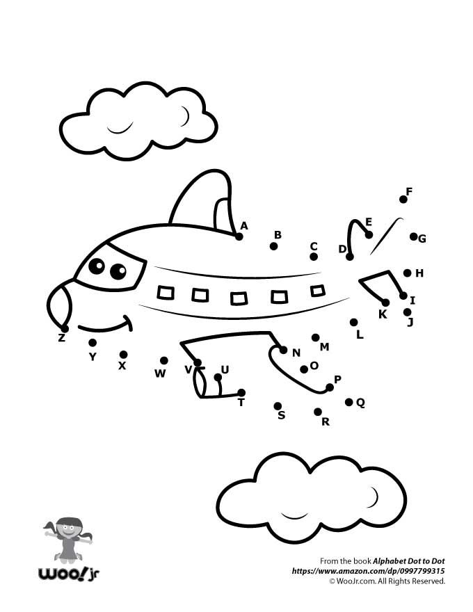 Printable coloring pages airplane dot to dot from the alphabet dot to dot book by woo jr