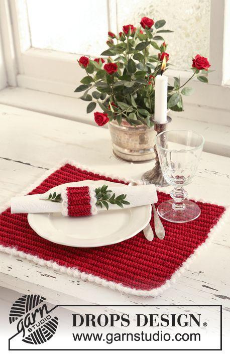 Mantel individual DROPS y Aro para servilleta en ganchillo / crochet ...