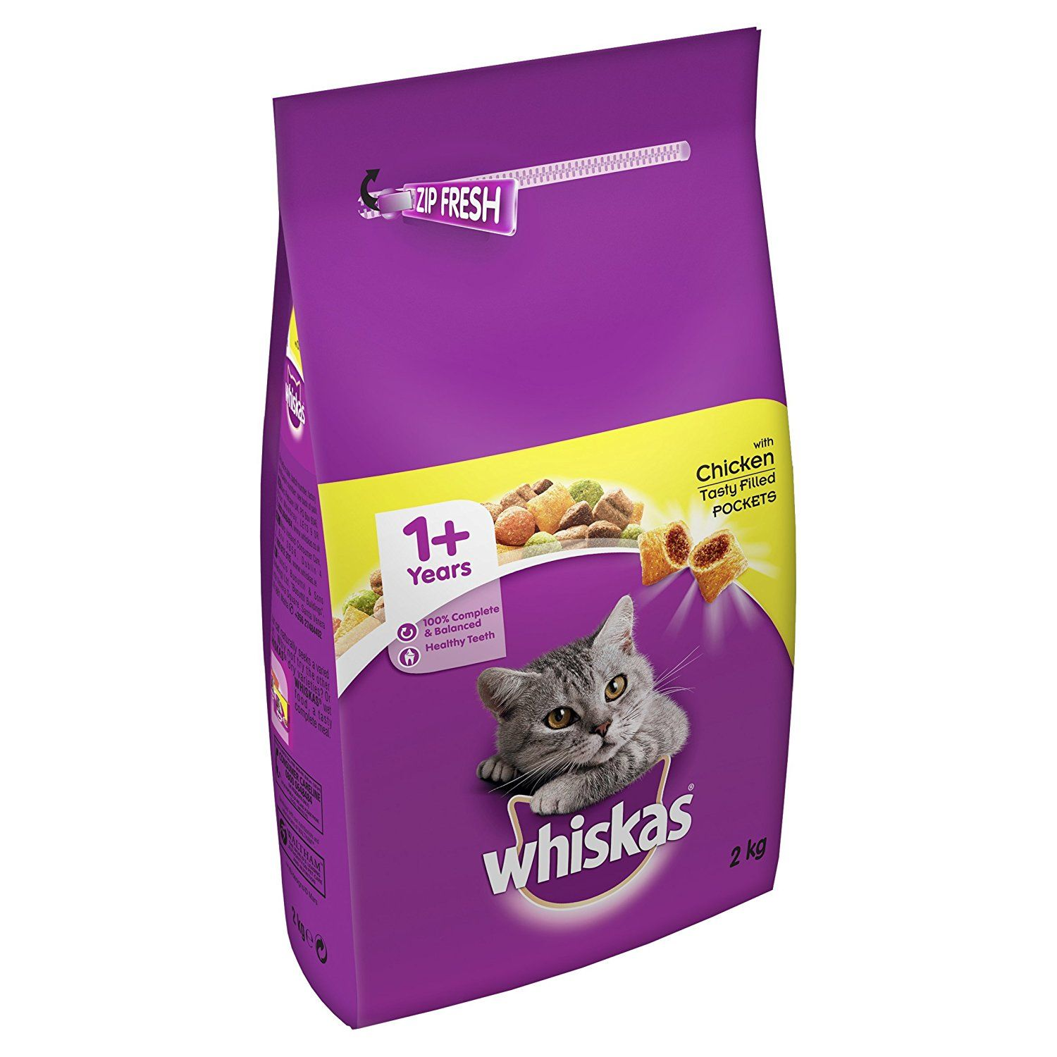 Whiskas 1 Cat Complete Dry with Chicken, 2 kg Pack of 4