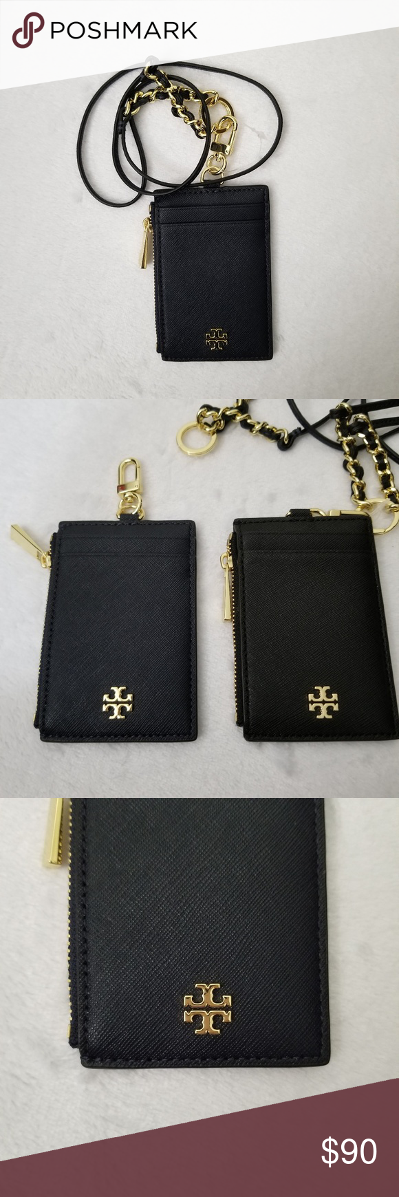 91cb765166c6 Tory Burch Emerson Lanyard ID Credit Card Holder 100% Authentic Guaranteed  Tory Navy with gold hardware 4 card slots with 1 zipper compartment  Removable ...