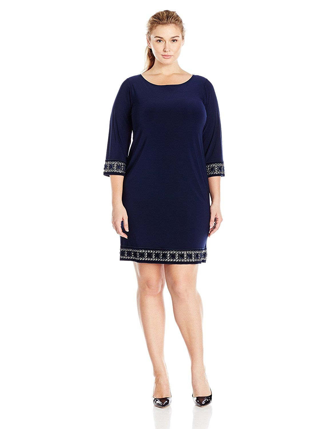Tiana B Women's Plus-Size Three-Quarter-Sleeve Embellished Cuff and Trim Dress -- You can get more details by clicking on the image.