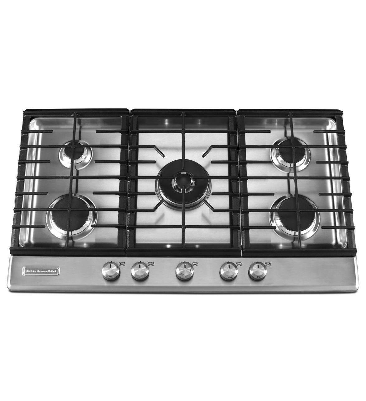 Kitchenaid 36 Inch 5 Burner Gas Cooktop Architect Series Ii Kfgs366vss Stainless Steel