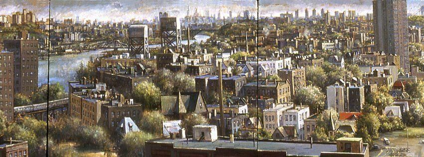 View Of Marble Hill And Broadway Bridge Bronx Ny Painted By Daniel Hauben Bronx Nyc Marble Hill Bronx