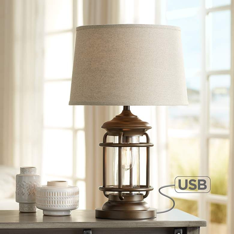 Andreas Industrial Night Light Table Lamp With Usb Port 45p79 Lamps Plus Industrial Table Lamp Table Lamps For Bedroom Table Lamp