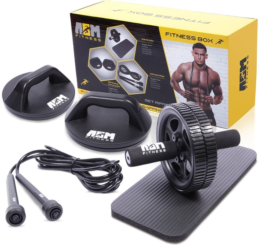 ASM Fitness Box Ab Wheel Roller with Thick Knee Pad Mat Rotational Push Up Bar