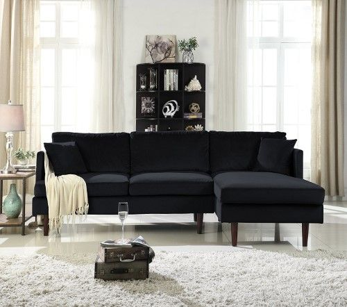 Mid-Century Modern Brush Microfiber Sectional Sofa, L-Shape Couch ...