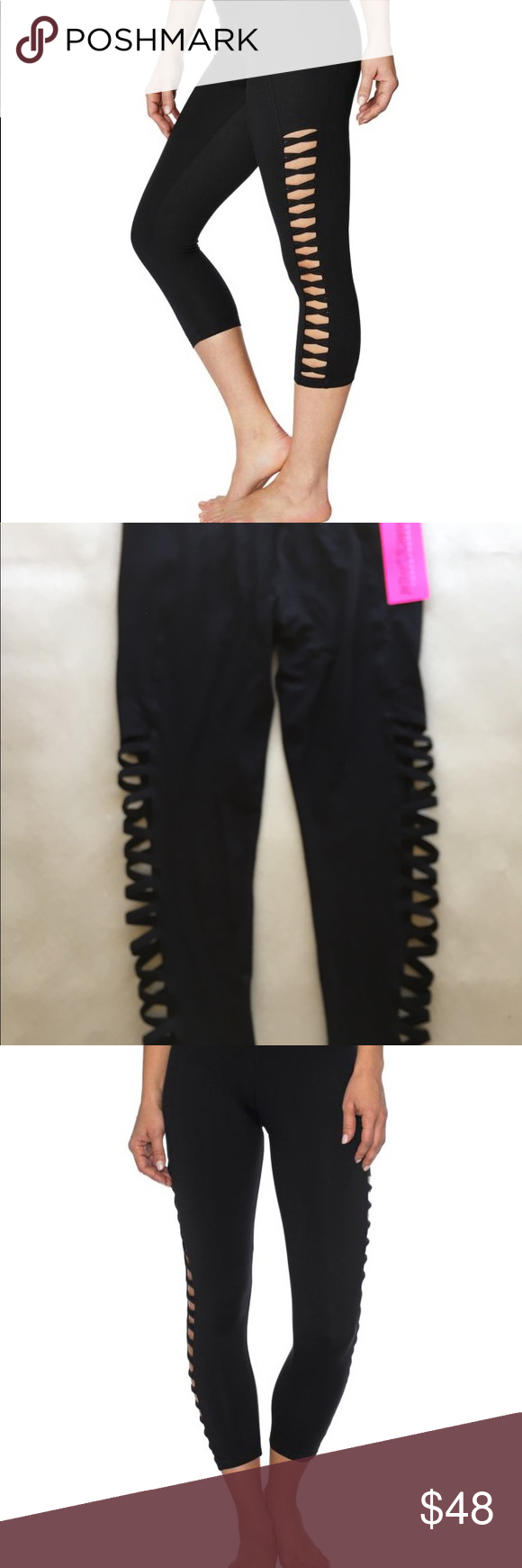 b37415eda439c Betsy Johnson Performance Sz L Black Leggings Athletic performance by Betsey  Johnson New with tag Pull-on style Side cutouts Elastic waistband Stretch  -knit ...