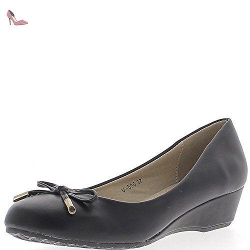 e3ae7e00551d3 Ballerines compensées noires à talons de 3,5 cm - 39 - Chaussures chaussmoi  (