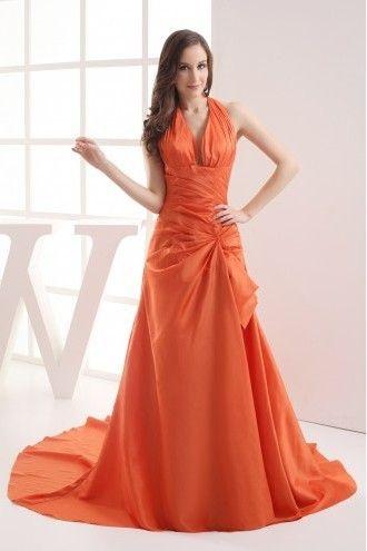 Bruidsmeisjes-eenvoudige halster lange oranje bruidsmeisjes jurken