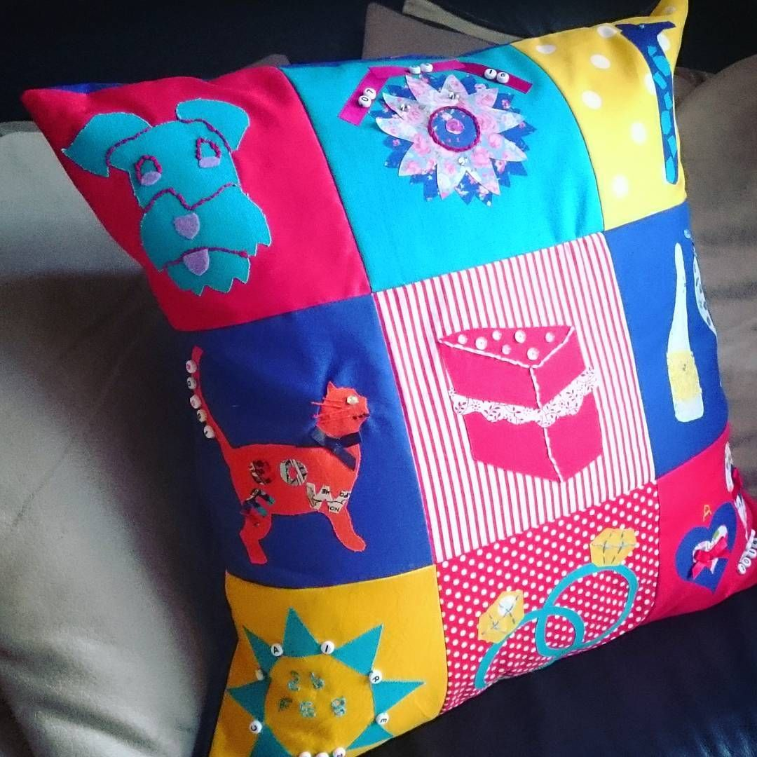 Another adorable #PatchworkCushion ready to return to one lucky #BrideToBe. ✂ These colourful squares were each designed by her hens at her #craftyhenparty in the #PeakDistrict earlier this month. #PatchworkParty #TheCraftyHen #CraftHenParty