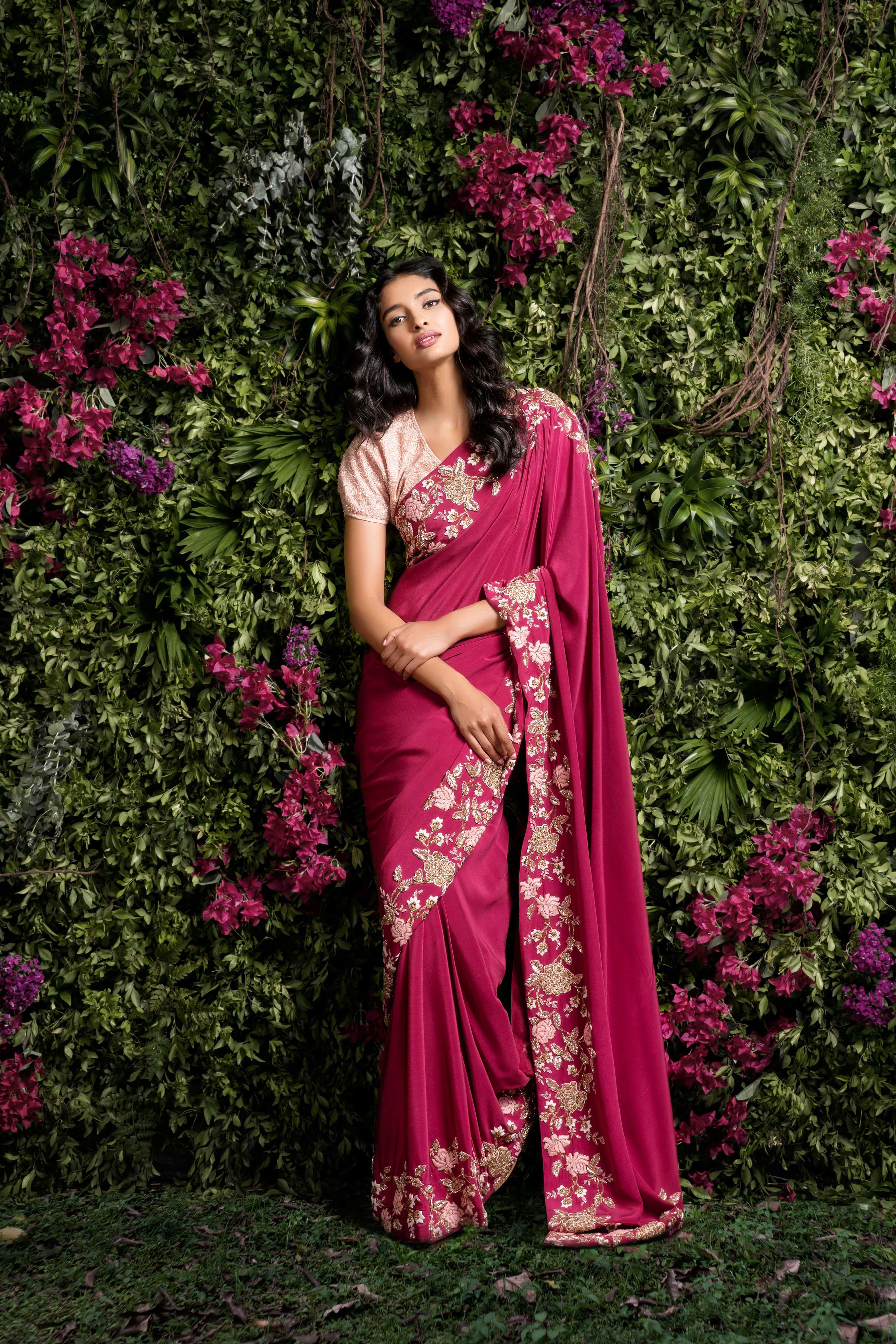 Passion homes borders gold zardozi border handmade designers - A Raspberry Wine Crepe Silk Sari With Zardosi And Peeta Border Handmade Embroidery