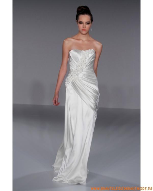 Günstiges modernes Brautkleid aus Stretchsatin mit Ruffle ...