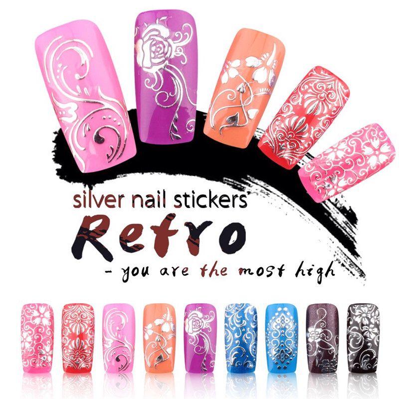 YAOSHUN DIY 3D Zilveren Nail Art Stickers Decals Hot Koop