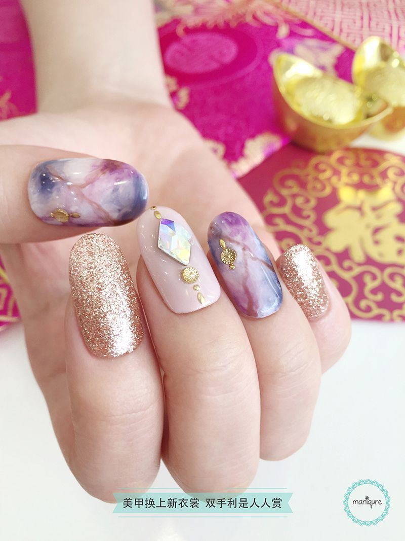 Chinese New Year Nail Art CNY Manicure Violet nails