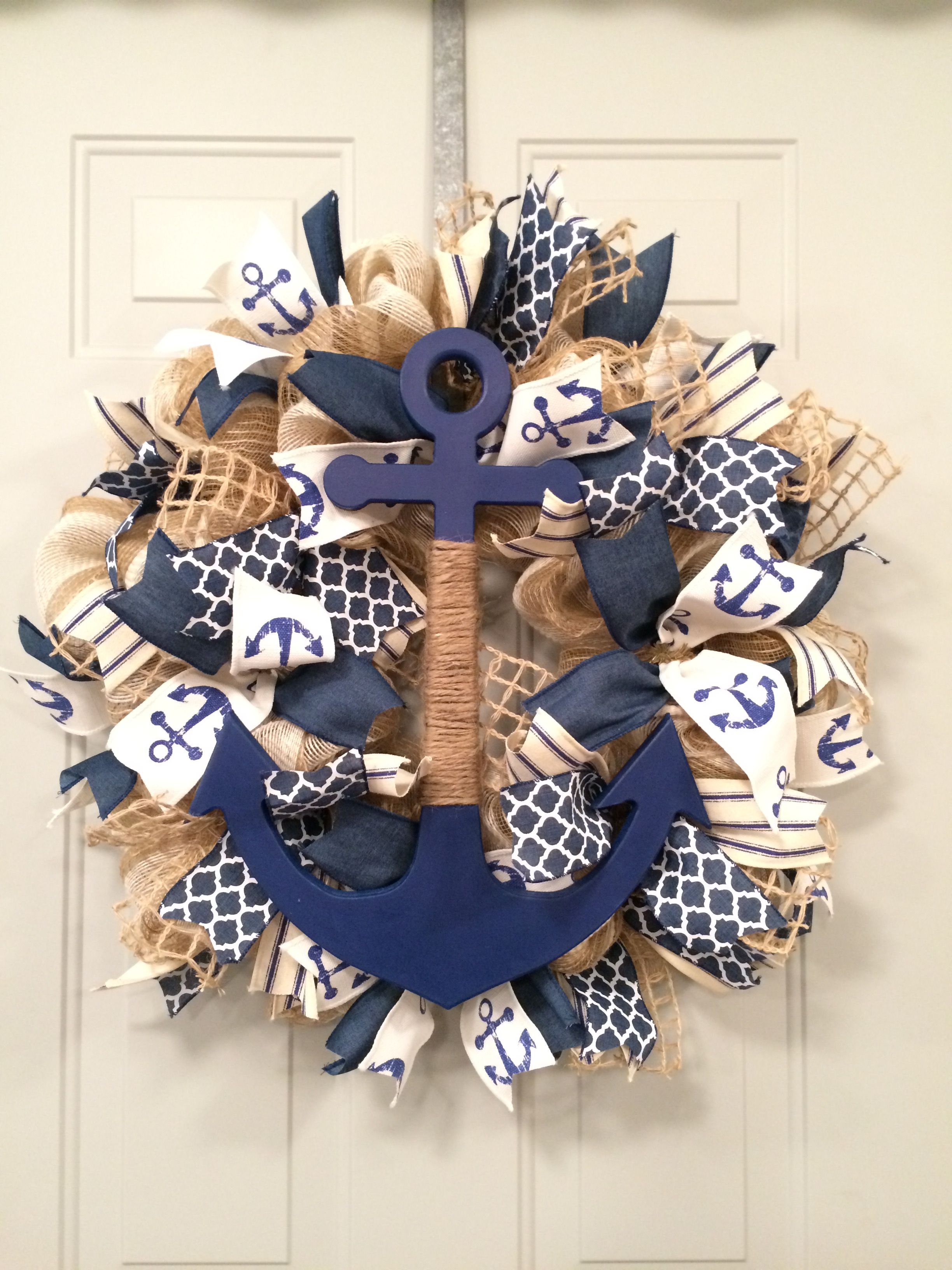 Nautical Anchor Deco Mesh Wreath With Images Deco Mesh Wreaths