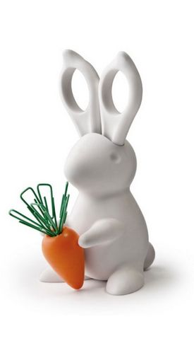 Office Bunny // I want a helpful office bunny! With scissor ears and carrot leaf paperclips... he's so cute! #product_design
