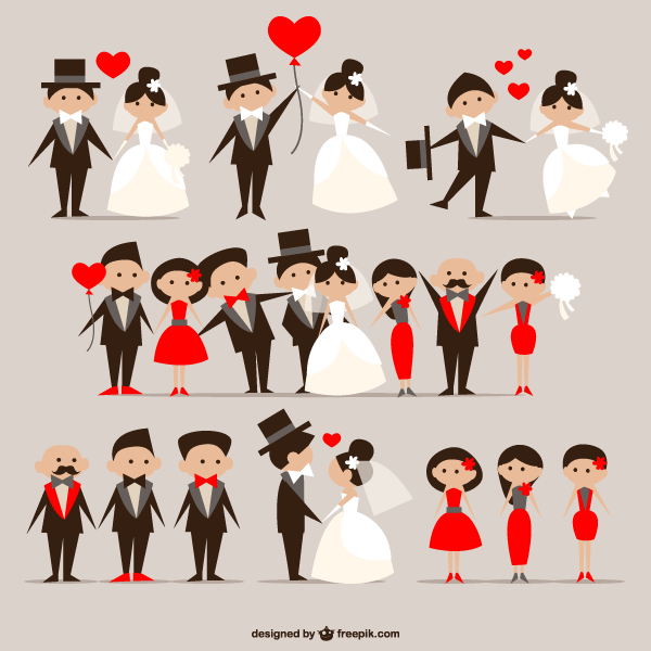 Cartoon Wedding Couple Vector Illustrator Pack Free | Free Vectors ...