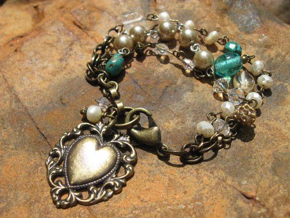 """Antique Bronze - Vintage Gemstone Bracelet - """"Vilde Collection"""""""