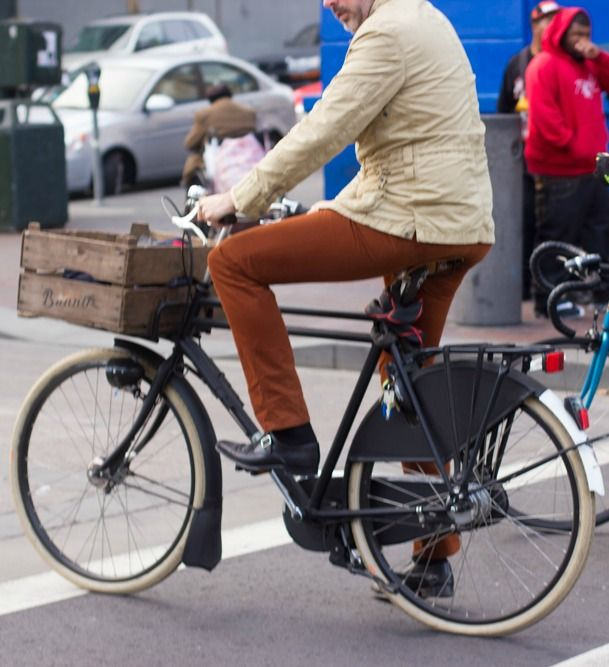 A Stylish Gentleman Rides A Dutch Bike In Downtown San Francisco