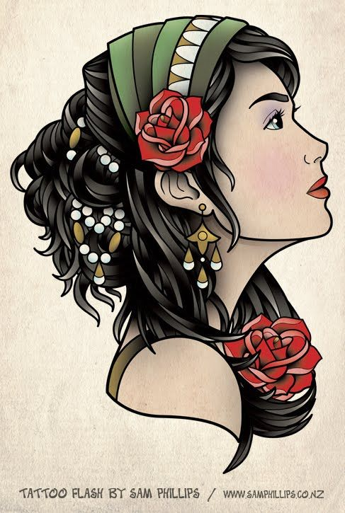 I designed this gypsy head tattoo for Nerissa Ryan. Nerissa asked me to design her a gypsy head on the side, with a headscarf, few beads/brass and a couple of roses. Oh, and thick dark hair of course.Copyright Sam Phillips www.samphillips.co.nz
