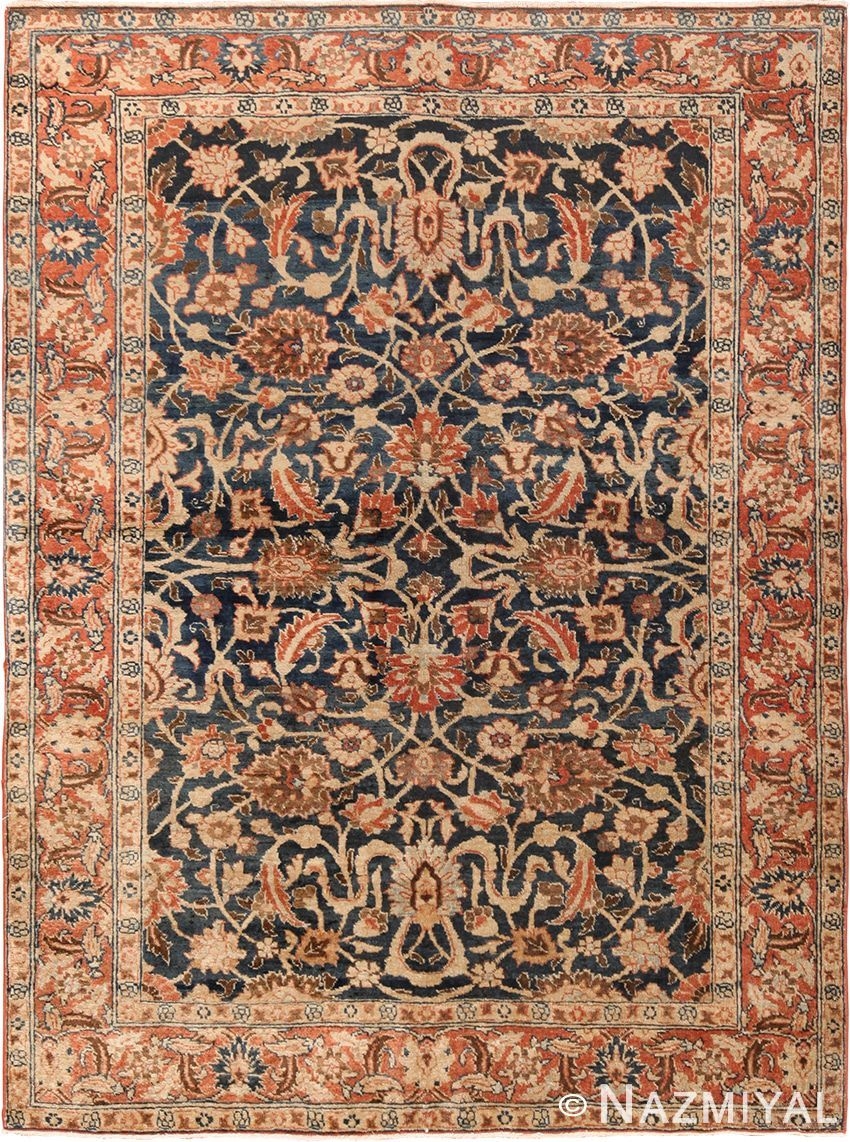 View This Beautiful Herati Fish Design Small Size Blue Background Antique Persian Tabriz Rug 49646 Which Persian Tabriz Rug Antique Persian Carpet Tabriz Rug