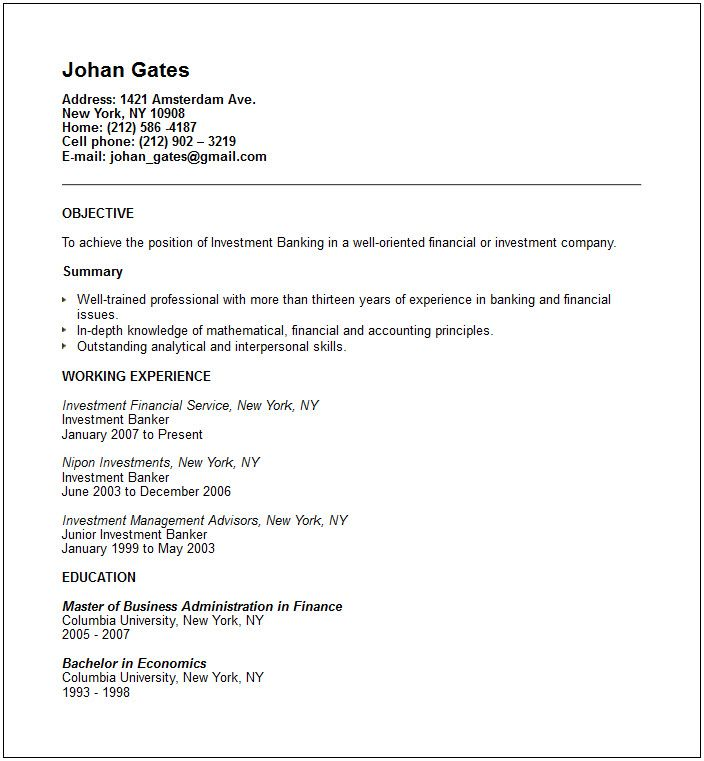 Investment Banker Resume Sample -   wwwresumecareerinfo - Skills For Resume Example