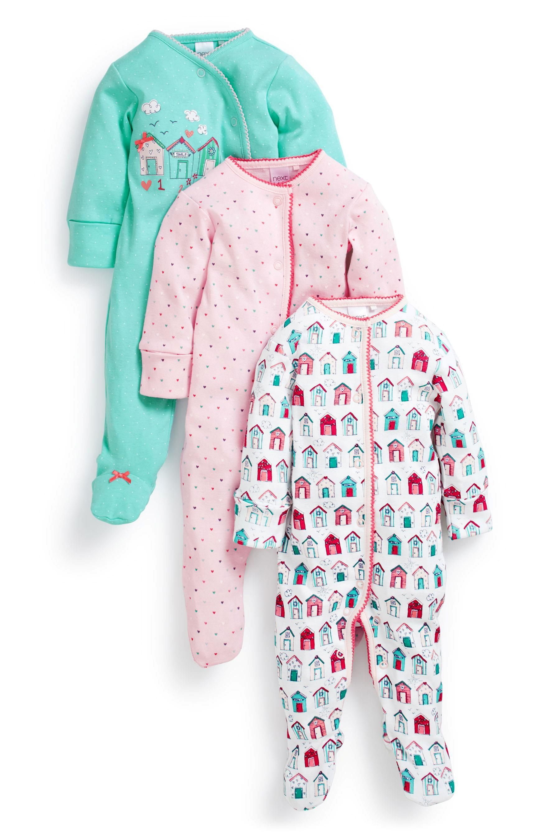 Buy Beach Hut Print Sleepsuits Three Pack 0mths 2yrs from the Next