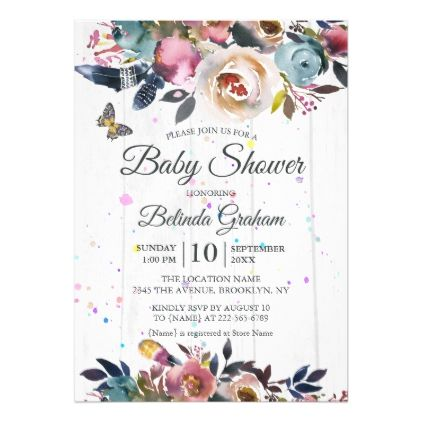 Floral boho baby shower invitation floral boho baby shower invitation baby gifts child new born gift idea diy cyo special negle Image collections