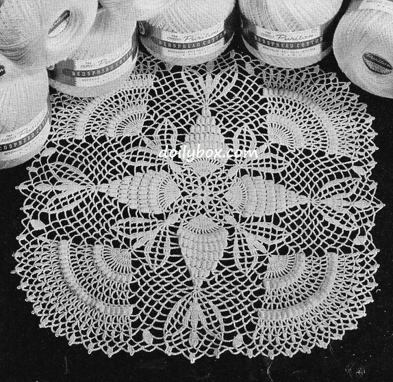Free Vintage Crochet Popcorns And Pineapples Doily Pattern