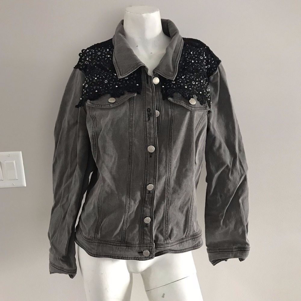 Christine Phillips Grey Denim Jacket Black Lace Embellishment Womens SZ 10  #ChristinePhillipe #BasicJacket #Casual