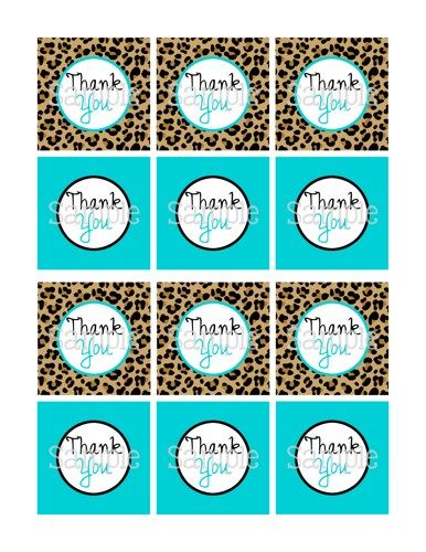"Printable Cheetah & Blue Boy Baby Shower 2.25"" Thank You Tags 