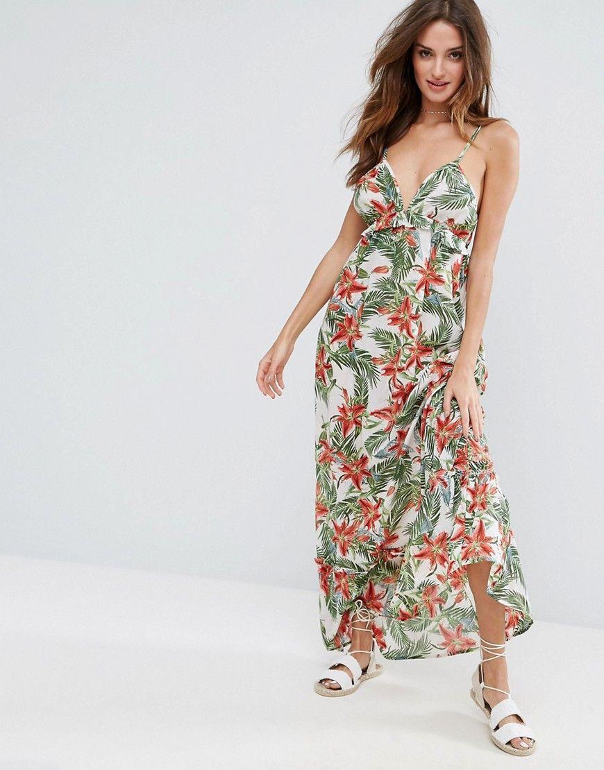 8630b3d8b4 ASOS Beach Maxi Dress With Ruffle Detail in Tropical Print - Multi ...