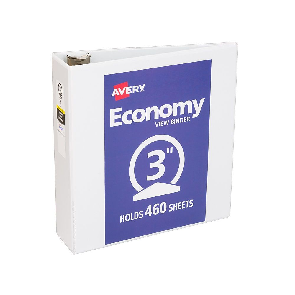 Avery Economy View Binder With Round Rings 8 1 2 X 11 3 Rings White Binder Vinyl Paper Binder Covers